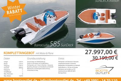 Okiboats Barracuda 585 Cabin sundeck + 80PS