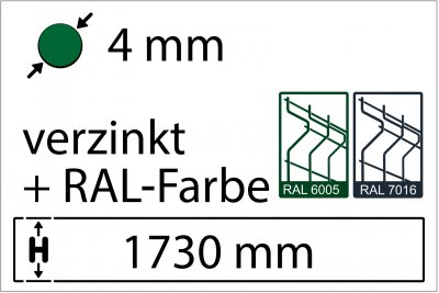 4 mm - Höhe 1730 mm - in RAL Farbe