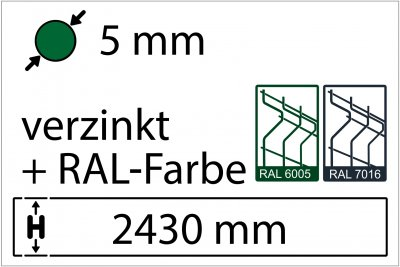 5 mm - Höhe 2430 mm - in RAL Farbe