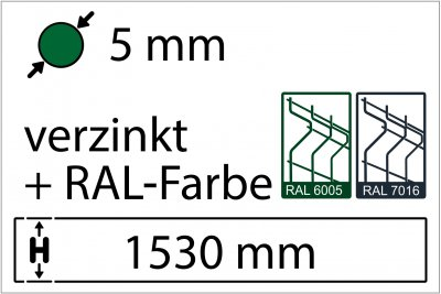 5 mm - Höhe 1530 mm - in RAL Farbe