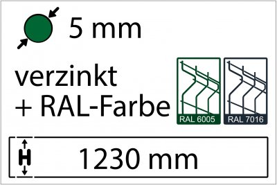 5 mm - Höhe 1230 mm - in RAL Farbe
