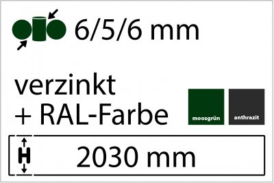 6/5/6 mm - Höhe 2030 mm in RAL Farbe