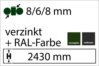 8/6/8 mm - Höhe 2430 mm - in RAL Farbe
