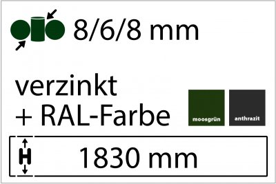 8/6/8 mm - Höhe 1830 mm in RAL Farbe