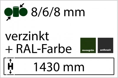 8/6/8 mm - Höhe 1430 mm in RAL Farbe