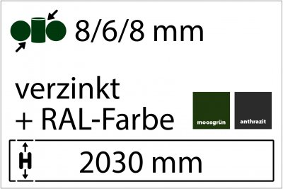8/6/8 mm - Höhe 2030 mm in RAL Farbe