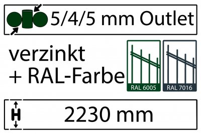 5/4/5 mm - Höhe 2230 mm in RAL Farbe
