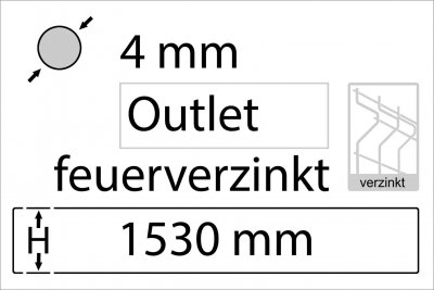 4 mm Outlet - Höhe 1530 mm