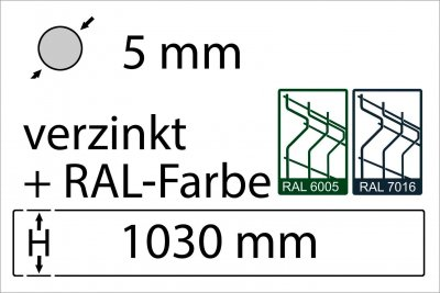 5 mm - Höhe 1030 mm - in RAL Farbe
