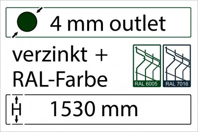 4 mm Outlet - Höhe 1530 mm - in RAL Farbe