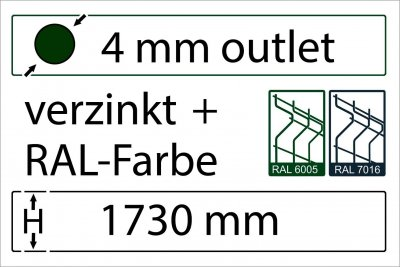 4 mm Outlet - Höhe 1730 mm - in RAL Farbe